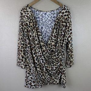 Lane Bryant Surplice Leopard Print Top Size 18/20